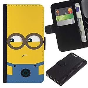 ARTCO Cases - Apple Iphone 6 PLUS 5.5 - Cute Cartoon Yellow Guy - Cuero PU Delgado caso Billetera cubierta Shell Armor Funda Case Cover Wallet Credit Card