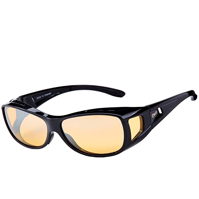 9ebcd2f20f Duco Polarised Night Driving Over Glasses Wrap Around Be Worn Over  Prescription Eyewear Polarized Night Vision 8953Y (Common Size Black)   Amazon.co.uk  ...