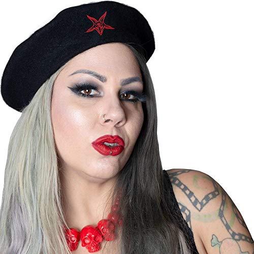 Kreepsville 666 Goat Head Beret Hat Black Red