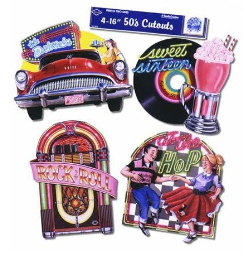 Beistle 55751 4-Pack Packaged Fabulous 50's Cutouts, 16-Inch ()