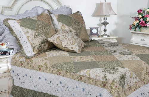 [Laura] 100% Cotton 3PC Floral Vermicelli-Quilted Embroidered Patchwork Quilt Set (King Size)