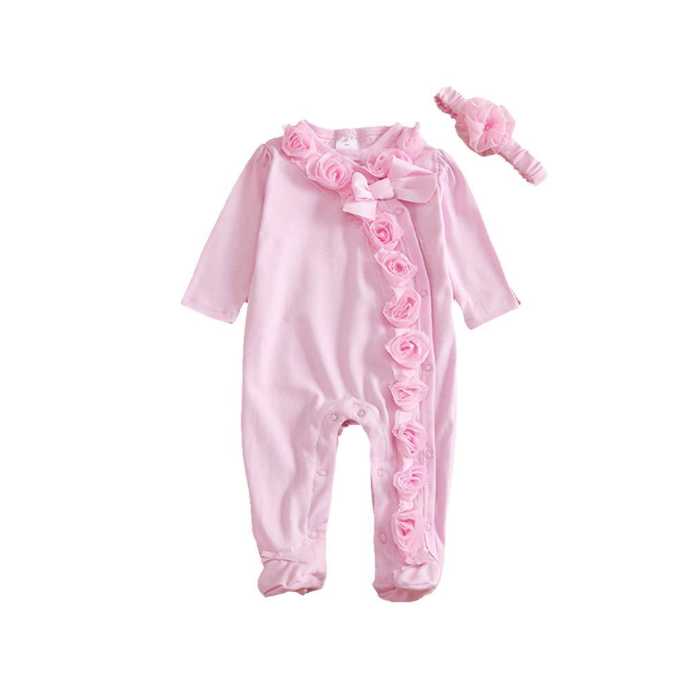 Miyanuby Bambino Pagliaccetto in Cotone Rosa Fiore Pagliaccetto Neonata Pagliaccetti Tutina dei Piedi Abiti Outfits 0-9 mesi