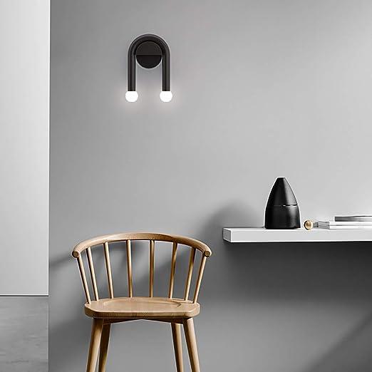 ZJING Lámpara De Pared De Metal con Personalidad Minimalista Negra, Lámpara Decorativa Moderna De Luz Cálida
