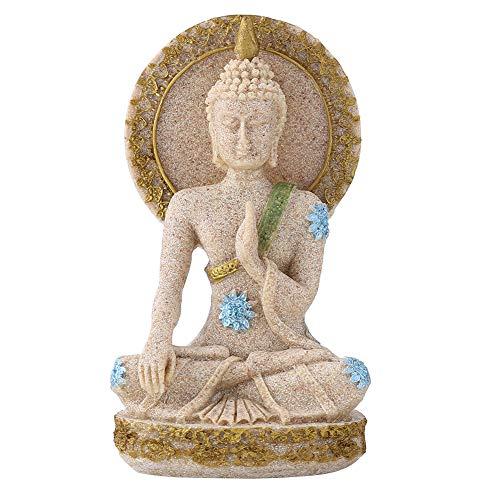 Sandstone Sculpture - Buddha Statue Sculpture Hand Carved Sandstone Figurine Crafts for Home Altar Zen Decoration Housewarming Gift