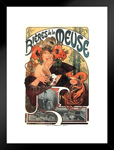 - Poster Foundry Alphonse Mucha Bieres De La Meuse Art Nouveau Vintage Reproduction Beer Advertisement Matted Framed Wall Art Print 20x26 inch