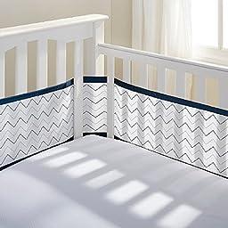 BreathableBaby Mesh Crib Liner- Navy Chevron