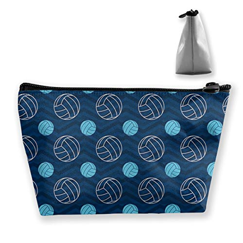 Blue Tan Chevron Volleyball Pen Stationery Pencil Case Cosmetic Makeup Bag Pouch (Set Stationery Chevron)