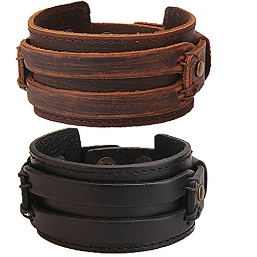 Real Leather Men's Cuff Bracelet Boys Cool Fashion Link with Metallic Snap Button 2 PCS