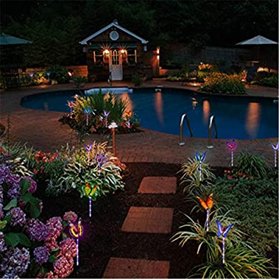 7 Colores Ciclo Mariposa Decoración Jardín Lámpara Solar Exterior ...