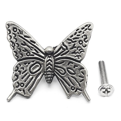 10 Pcs Butterfly Alloy Cabinet Knobs, 43mm Butterfly Shape Drawer Kitchen Cabinets Dresser Cupboard Wardrobe Pulls Handles (as Shown) by cyclamen9 (Image #2)