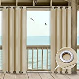 NICETOWN Patio Indoor Outdoor Curtain 95 Microfiber Thermal Insulated Silver Grommets Room Darkening Windproof Curtain/Drape for Outdoors and Indoors (Cream Beige,52 Inch Wide by 95 Inch Long) Review
