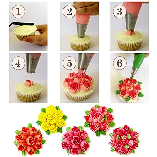 Russian Piping Tips 74 Pcs Cake Decorating Supplies Kit 19 Icing Nozzles 1 Leaf Tip 1 Sphere Ball Tip 1 Single Coupler 1 Tricolor Coupler 50 Disposable Pastry Bags 1 Reusable Silicone Pastry Bag