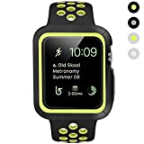 BRG Apple Watch Case with Band, Shock-proof and Shatter-resistant Protective Case with Silicone Sport iWatch Band for Apple Watch Series 2 Series 1 Sport and Edition 42mm M/L, Black/Volt