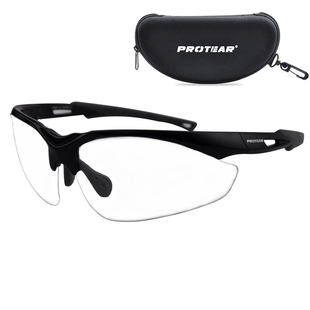 Military Ballistic Standard Safety Glasses with Case - Protective Scratch Resistant Lens Eye-wear - UV 400 Protection
