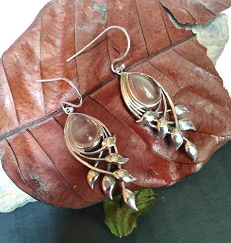 - Rose Quartz Earrings, 925 Silver Earring, Pink Earrings, Teardrop Rose Quartz Earrings, Leaf Shape Earrings, Bridal Earrings, Pink Stone Jewelry, Gift for her, Gemstone Earring, Genuine Quartz Earring