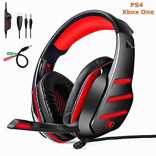 [Upgrad] PS4 Xbox Gaming Headset, Yocuby Gaming Headphones GM3 Noise Reduction Wired Over-Ear Headphone With Mic LED Light Volume Control Ergonomic Earmuffs Design Splitter For PC Tablet Cellphone