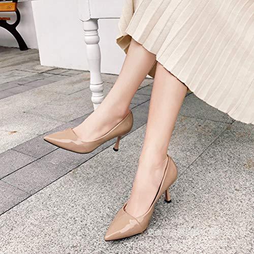 aiguilles en Chaussures travail élégantes pour Talons femmes cuir Beige de confortables d5UAYx