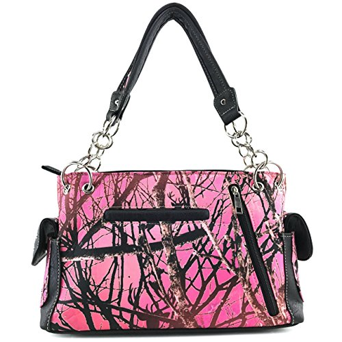Cross Concealed Wing Rhinestone West Angel Pink Carry Shoulder Justin Camouflage Handbag Set Bling Wallet Purse Handbag Tree WSY0Rxxq1z