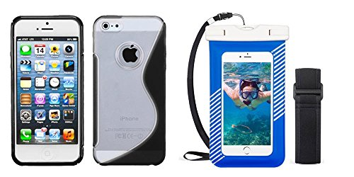 Combo pack MYBAT Transparent Clear/Solid Black (S Shape) Gummy Cover for APPLE iPhone 5 And Universal Blue Waterproof