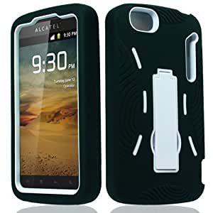 Black White Heavy Duty Hybrid Cover Case with Stand for Alcatel One Touch 960C
