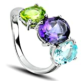 Sterling Silver Blue Topaz Purple Amethyst and Green Peridot Gemstones Ring