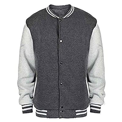 Lee Hanton Men's Sherpa Lined Fleece Varsity Baseball Bomber Jacket