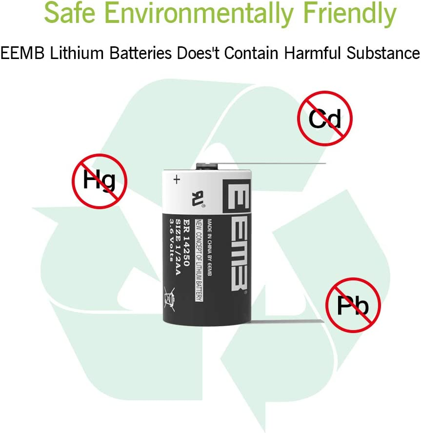 EEMB 1//2 AA 3.6 V Lithium Battery ER14250 1200 mAh High Capacity Li-SOCl2 3.6Volt Lithium Thionyl Chloride Batteries Non Rechargeable UL Certified