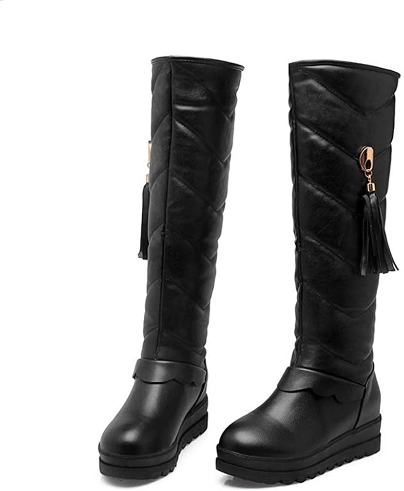 JOYBI Women Waterproof Snow Boots Winter Warm Round Toe Fringe Fur Lined Slip On Platform Knee High Boots
