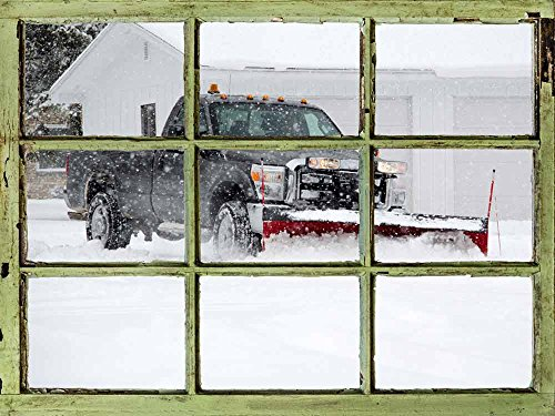 Window View Wall Mural Snowplow Working in a Winter Morning Vintage Style Wall Decor Peel and Stick Adhesive Vinyl Material