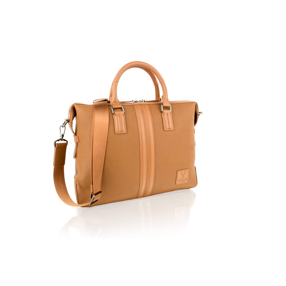 Woodland Leather Tan Tote Bag Contrast Leather 14.0 Central Compartment