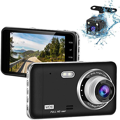 RTMOK 1080P Dash Camera Front and Rear 4'' IPS Screen Dual Dashboard Camera Recorder for Cars with Loop Recording G-Sensor 170° Wide Angle Night Vision and Parking Mode