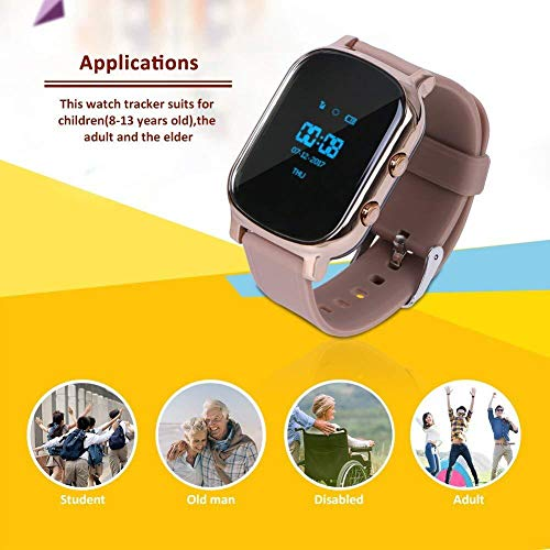 Hangang GPS Tracker For Kids Children Smart Watch Kids Wrist Watch T58 Anti-lost SOS Call Location Finder Remote Monitor Pedometer Functions Parent Control iPhone Android Smartphones APP (gold)(T58G) by Hangang (Image #1)