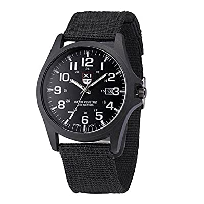 COCOTINA Mens Military Automatic Day and Date Army Watch Black Canvas Strap