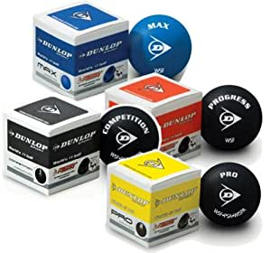 Dunlop - Juego de pelotas de squash, 4 unidades, azul, amarillo y rojo