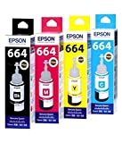Original Epson Ink All Colors (T6641-B,T6642-C,T6643-M,T6644-Y) 70 Ml Each For L100/L110/L200/L210/L300/L350/L355/L550