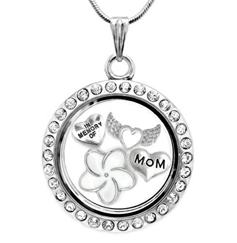 Argent en mémoire de Mom Pendentif médaillon Collier avec breloques flottantes et chaîne de 45,7cm