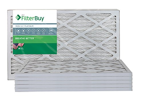 AFB Platinum MERV 13 17x22x1 Pleated AC Furnace Air Filter. Pack of 6 Filters. 100% produced in the USA.
