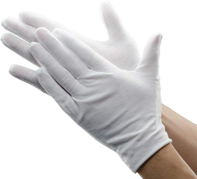 12 pares de guantes de poliéster blancos, transpirables, suaves ...