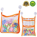 Bath Toy Organizer, SUNDOKI Toy Holder Storage Bags with 4 Suction Cup Hooks and 2 Bath Toy Nets for Kids, Toddlers and Adults (Orange)