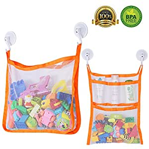 Bath Toy Organizer SUNDOKI Toy Holder Storage Bags with 4 Suction Cup Hooks and 2  sc 1 st  Amazon.com & Amazon.com: Bath Toy Organizer SUNDOKI Toy Holder Storage Bags with ...