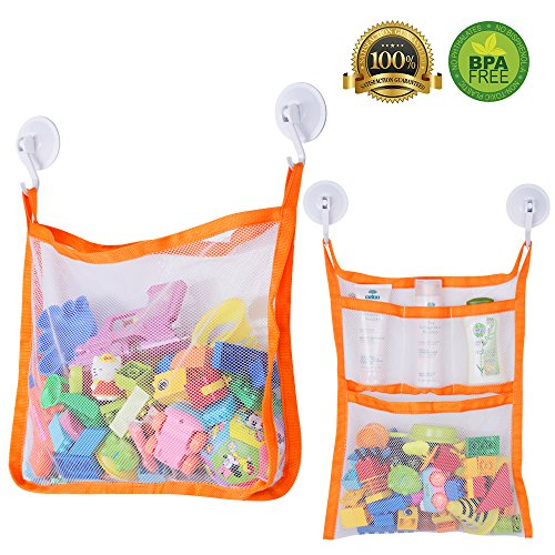 - SUNDOKI Bath Toy Organizer, Bath Toy Holder Storage Bags with 4 Suction Cup Hooks and 2 Bath Toy Nets for Kids, Toddlers and Adults (Orange)
