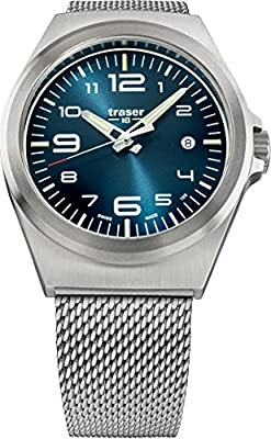 traser P59 Essential M Blue Dial Milanese Stainless Steel Band Men's Watch 108205 by Traser