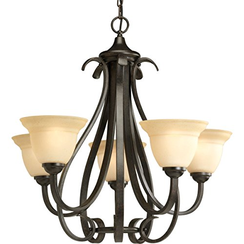 Progress Lighting P4416-77 Torino Five-Light Chandelier, 26-1 8-Inch Diameter x 24-3 4-Inch Height, Forged Bronze