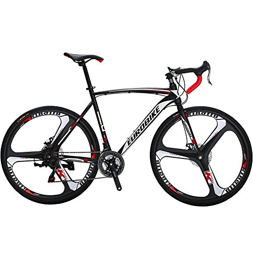 Eurobike Road Bike EURXC550 21 Speed 54 cm Frame 700C K Wheels Road Bicycle Dual Disc Brake Bicycle Blackwhite