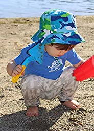Toddler 50+ UPF Bucket Sun Hat, Size Adjustable Aqua Dry ( M: 9m - 3Y, Blue Shark )