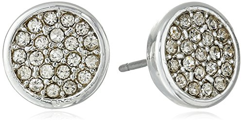 Anne Klein Silver Tone and Crystal Pave Stud Earrings