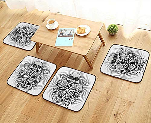 UHOO2018 Fillet Chair Cushion Gothic Coat rms with Skull and Cross Grunge Vintage Design t Shirts Suitable for The Chair W13.5 x L13.5/4PCS Set