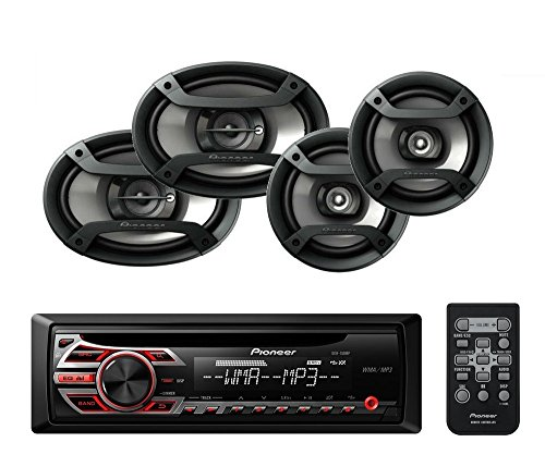 """Pioneer DEH-150MP Single Din CD Player with one pair of TS-165P 6.5"""" and one pair of TS-695P 6x9"""" Car Speakers"""