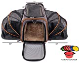 Petpeppy.com The Original Airline Approved Expandable Pet Carrier by Pet Peppy- Two Side Expansion, Designed for Cats, Dogs, Kittens,Puppies - Extra Spacious Soft Sided Carrier! (Black) Larger Image