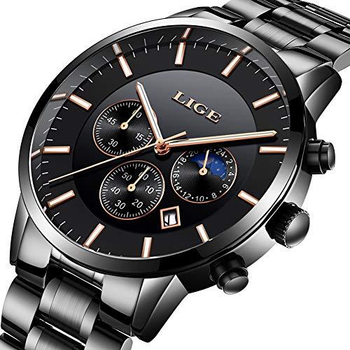 LIGE Waterproof Mens Watches Business Calendar Simulation Analog Quartz Watch Men Moon Phase Black Stainless Steel Wristwatch